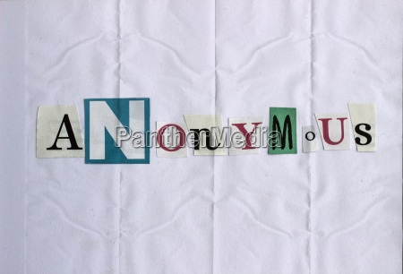 word anonymous build by cutted out
