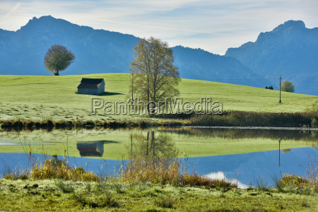 germany bavaria allgaeu landscape with lake