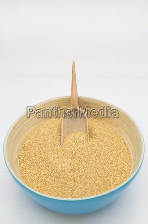 bamboo bowl of organic amaranth amaranthus
