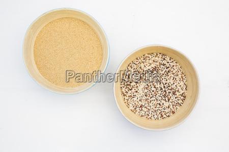 two bamboo bowls of organic amaranth