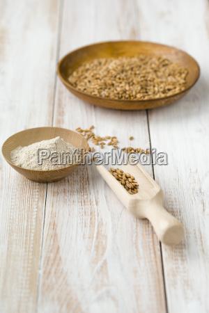 bowl of emmer triticum dicoccum and