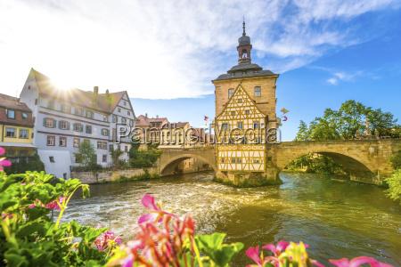 germany bavaria bamberg regnitz river with