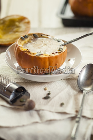oven baked mini pumpkin filled with