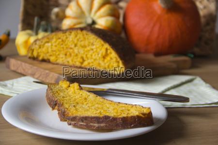 slice of pumpkin bread on a