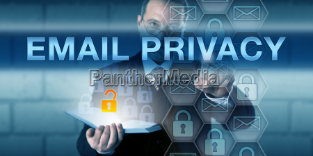 security manager pressing email privacy