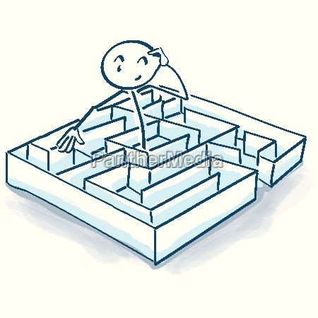 strichmaennchen im irrgarten und labyrinth