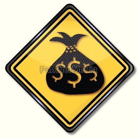 sign with money bag and dollars