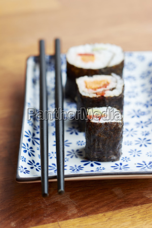 vegetable sushi filled with sweet potato