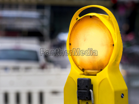 warning light at a road construction