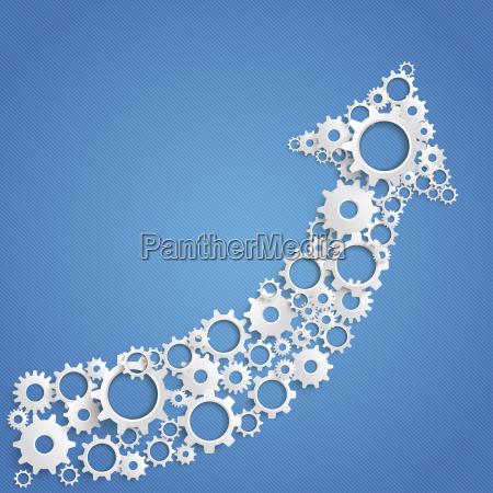 arrow made of cogwheels vector graphics