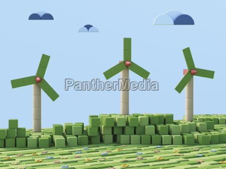 3d rendering wind wheels wind park