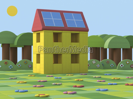 3d rendering house with solar panels