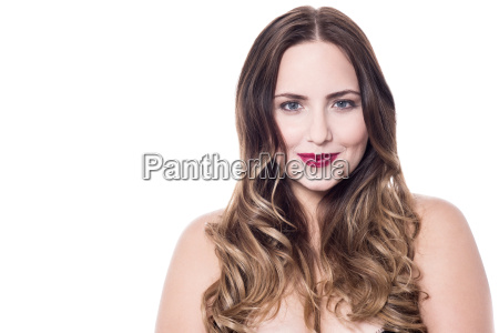 beautiful smiling woman with bare shoulders