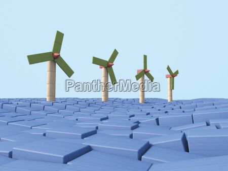 row of offshore wind wheels made
