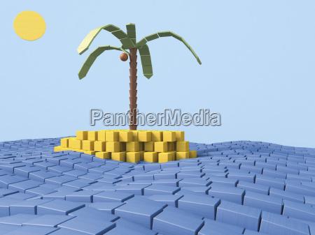 insel mit kokospalme aus bauziegeln 3d