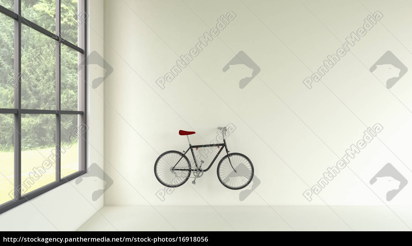 3d rendering von fahrrad an der wand h ngen lizenzfreies foto 16918056 bildagentur. Black Bedroom Furniture Sets. Home Design Ideas