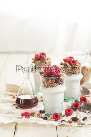 homemade glutenfree nut granola raspberries greek