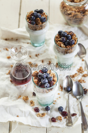 homemade glutenfree nut granola blueberries greek