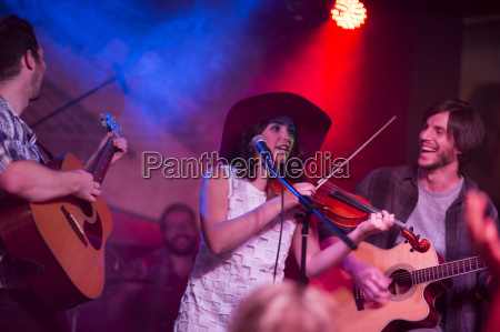 folk band with violin two acoustic