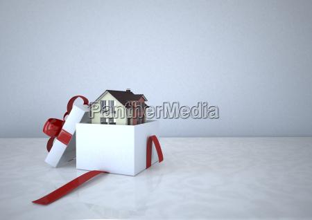 wohnhaus in einer geschenk box 3d