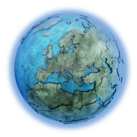europa auf marmor planet erde