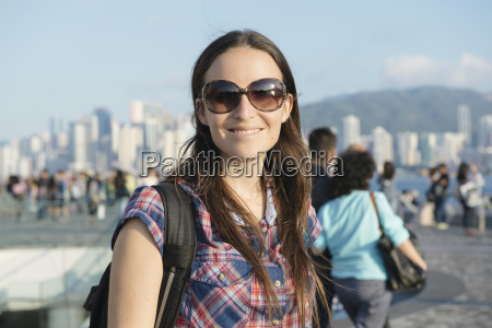 hong kong kowloon smiling tourist in
