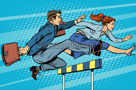 business competition woman and man running