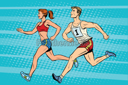 man woman athletes running track and