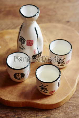 sake set with 4 cups and