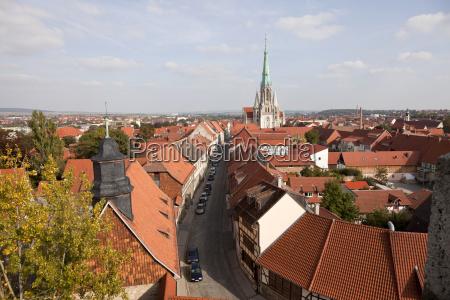 deutschland thueringen muehlhausen stadtbild mit marienkirche