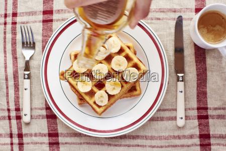 quinoa waffles with banana slices and