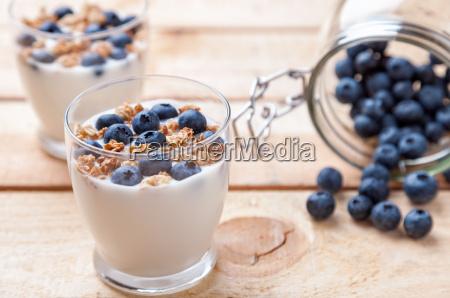 naehrstoffreiche und gesunde joghurt mit heidelbeeren