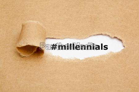 millennials heftiges papier konzept