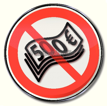 prohibition sign for 500 euro banknotes