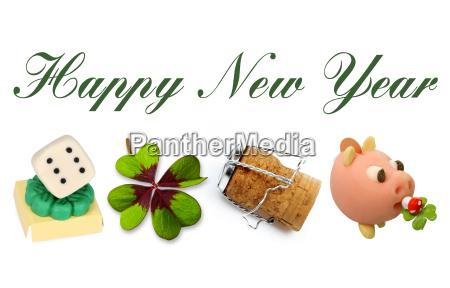 happy new year mit glueckssymbolen