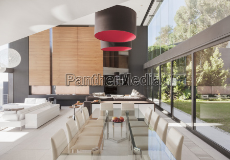 modern dining room and open floor