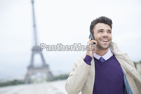 businessman talking on cell phone by