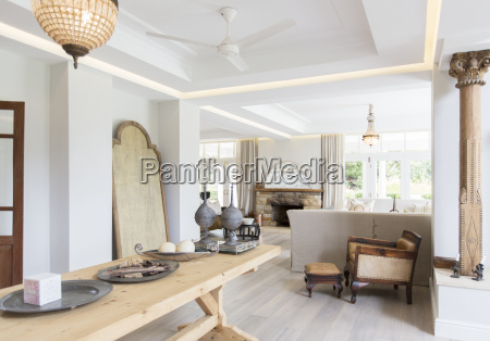 wooden table in luxury dining room