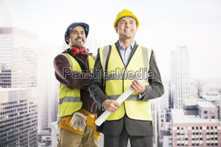 construction workers in urban window