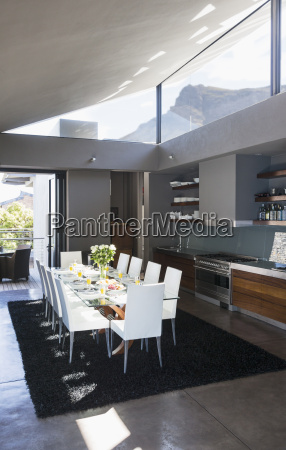 table and chairs in modern dining