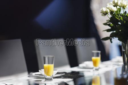 mimosas on elegant dining table