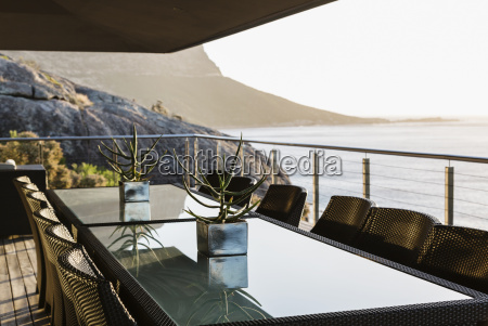 dining table on luxury patio overlooking