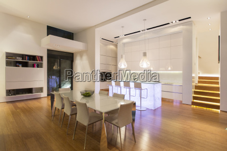 dining area and kitchen in modern