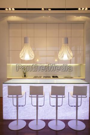 bar stools in modern kitchen