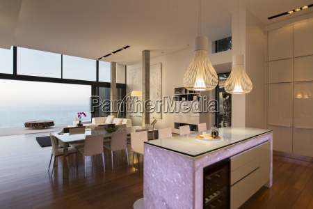 modern kitchen and living area overlooking
