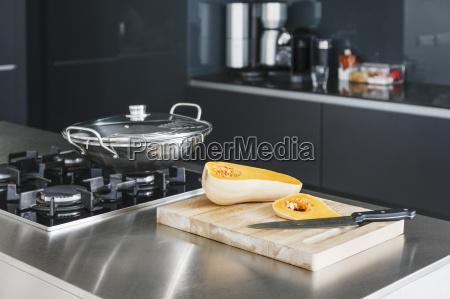 sliced squash in modern kitchen