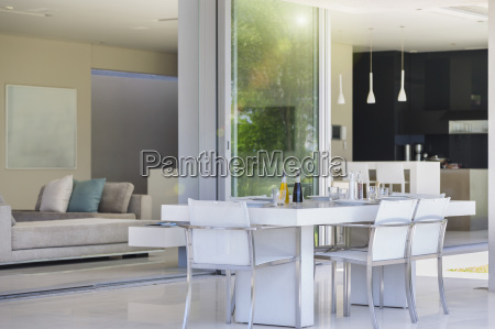 dining table on modern patio