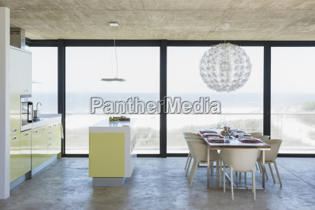 modern dining room and kitchen overlooking