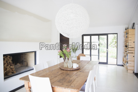 dining table and light fixture in