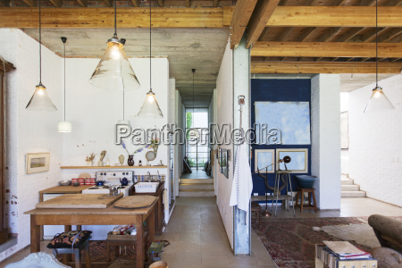 kitchen and living area of rustic
